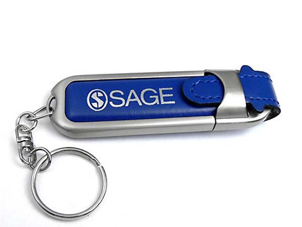 Blauer Leder USB-Stick mit Logo bedruckt und Schlüsselring