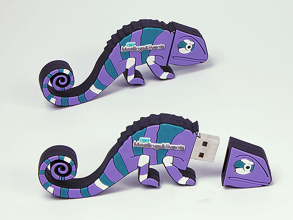 chamäleon Echse Eidese USB-Stick in vielen bunten Farben in Wunschform eines Logos