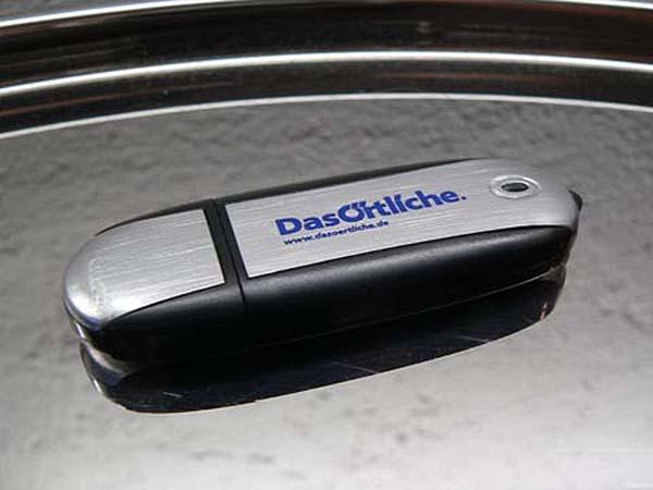 Das Örtliche USB-Stick aus Kunststoff und Metall mit einfarbig bedrucktem Logo