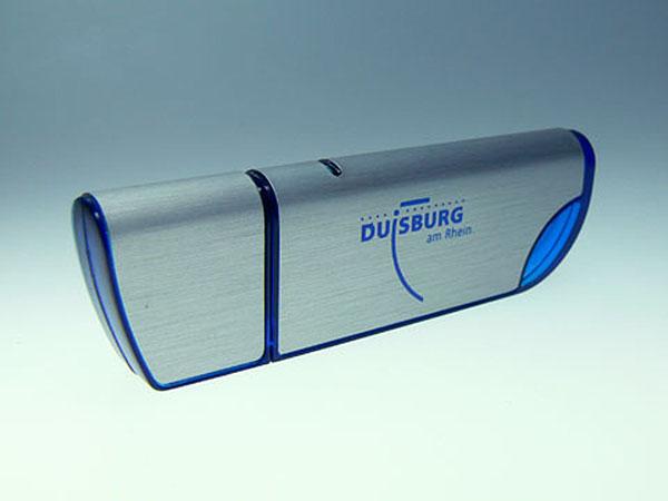 Duisburg am Rhein Werbegeschenk USB-Stick in Blau mit einfarbigen Aufdruck
