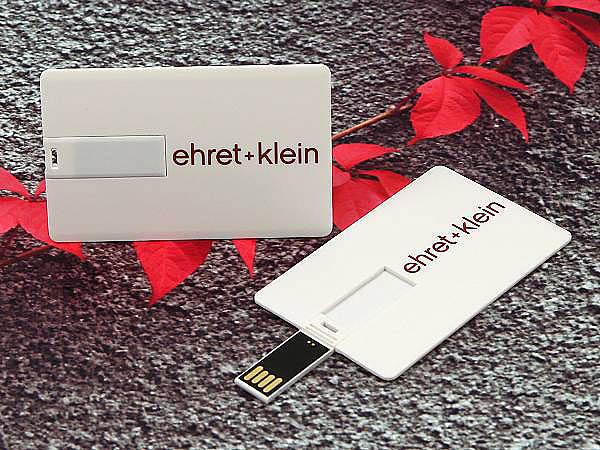 ehret klein werbaeartikel Visitenkarte mit USB-Stick bediseitig bedruckt mit Logo