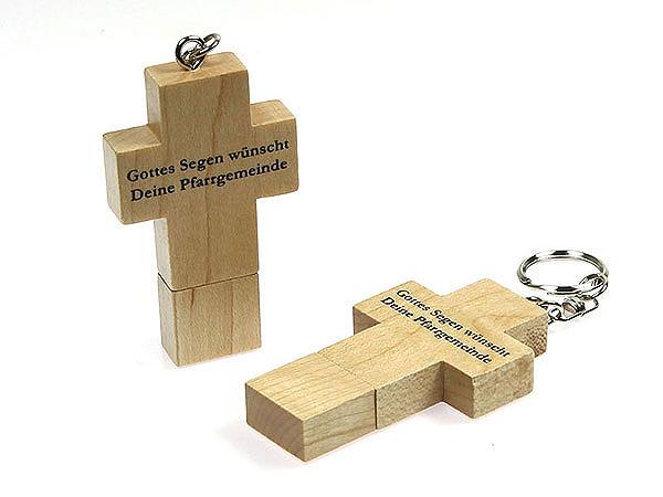 Einfaches USB Holzkreuz aus Holz schlicht und edel mit Logodruck