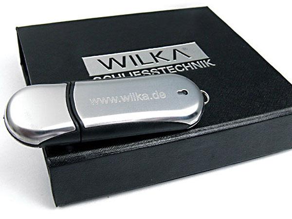 Hochwertier Chrom USB-Stick edel mit Logo graviert