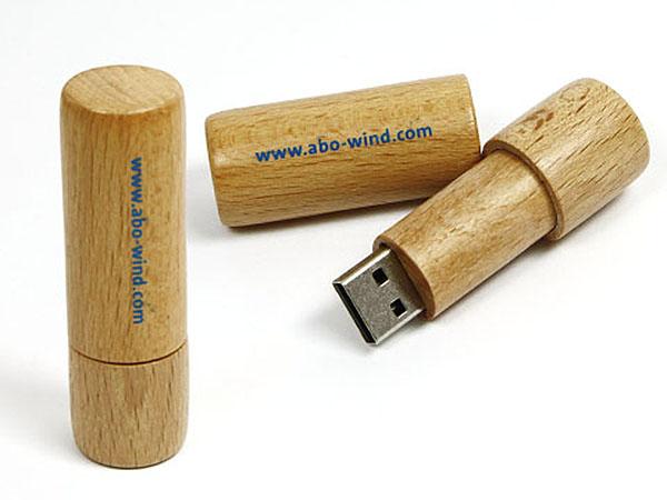 runder holz USB-Stick abo wind