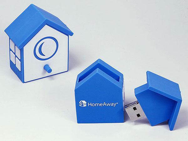 Home Away Logo Vogelhaus Haus mit Logo als individueller USB-Stick
