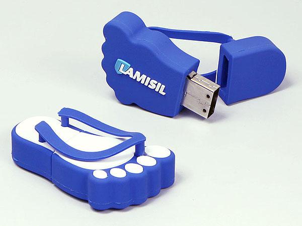 Lamisil Schuhe Flipflop mit Logo in Wunschform mit USB-Stick als Werbegeschenk