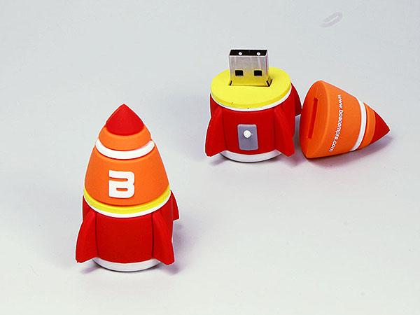 Lusige Comic Rakete als USB-Stick mit Logo