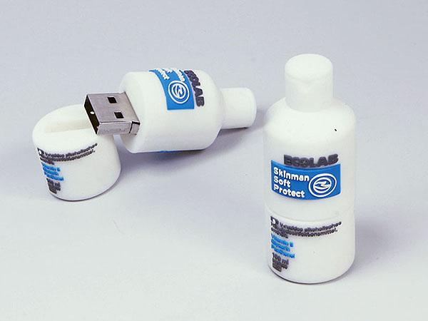 Runde Flasche als Gefäß für Flüssigkeiten als USB-Stick