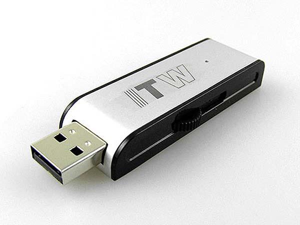 TW Aluminium USB-Stick mit Logodruck in schwarz und silber