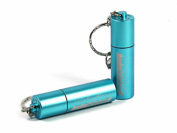 USB Stick aus Aluminium in Soderfarbe blau mit Logogravur am Schlüsselring mit Karabiner