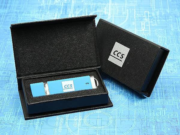 USB Stick aus Kunststoff mit Logodruck in Geschenkverpackung
