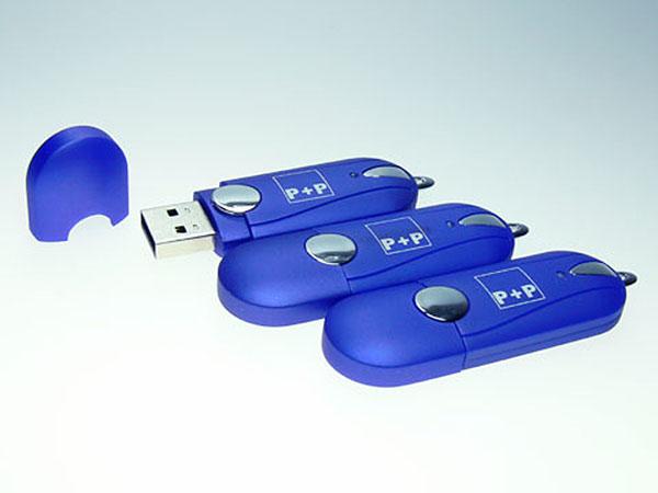 USB-Stick Kunstoff und Chromelementen mit Logoprint als Gravur
