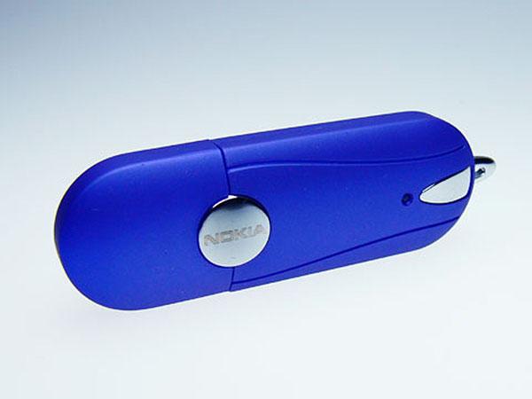 USB-Stick Kunstoff und Chromelementen mit Logoprint Gravur