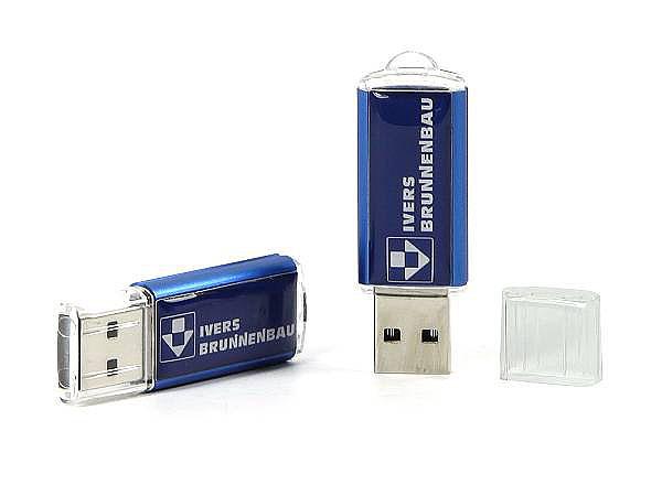 USB-Stick aus Kunststoff und Metall mit Logodruck in Blau