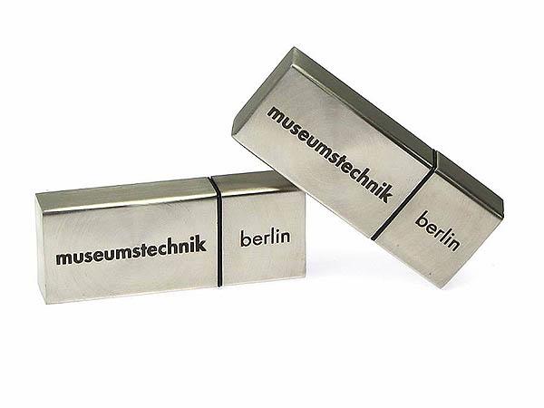 Metall USB-Stick silber matt mit Logo 1farbig