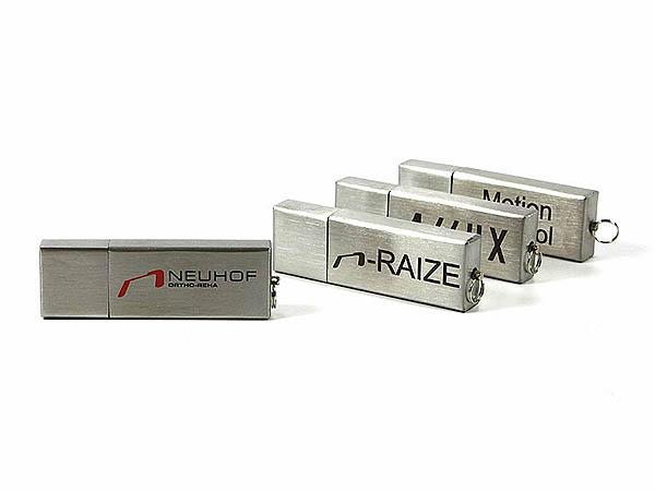 Metall USB-Stick Aluminium gebürstet mit 2 farbigem Logo Aufdruck