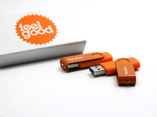 usb stick twister in hausfarben mit logo und geschenkbox