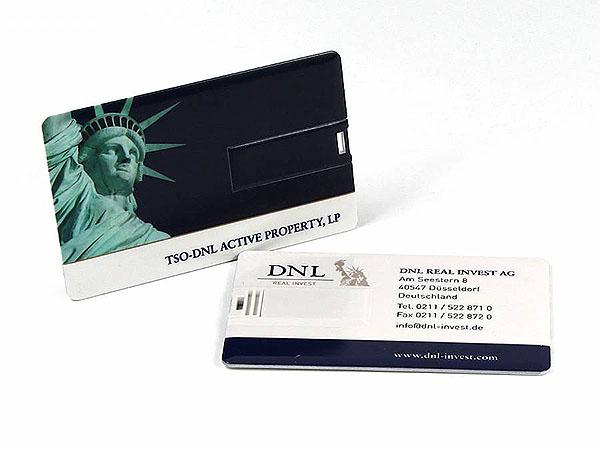 USB Visitenkarte mit Stick DNL Real Invest Logo bedruckt