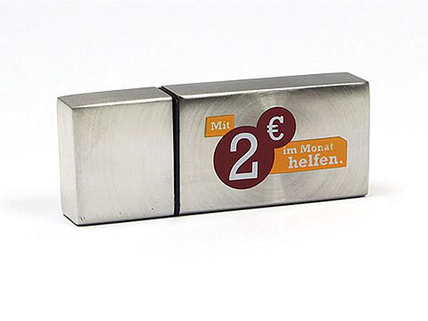 Metall USB-Stick silber matt mit Logo 2 farbig