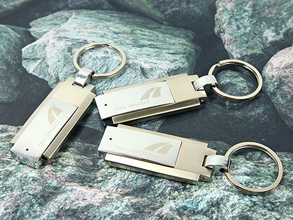 Vollmetall Klapp USB-Stick mit Schlüsselring und Gravur Toll Collect