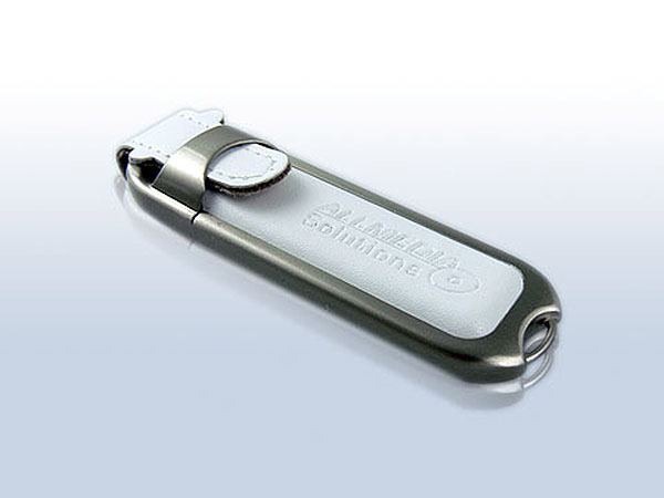 Weißer Leder USB-Stick Werbeartikel mit Lederprägung des Logos