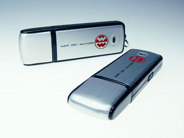 Welt der Wunder Metall USB-Stick mit Druck des Logos