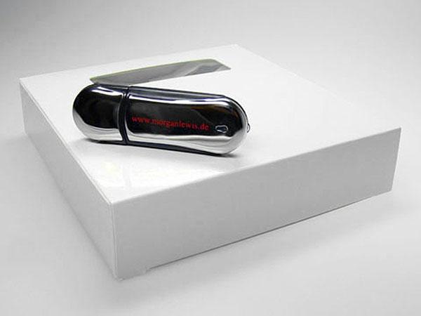 Werbeartikel Chrom USB-Stick mit einfarbigen Druck des Logos