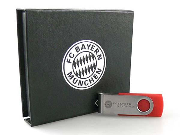 Werbeartikel FC Bayern München USB-Stick mit Geschenverpackung in silberprägung