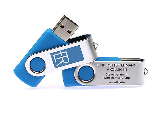 Werbeartikel Metall Metall usb stick Twister bedruckt blau