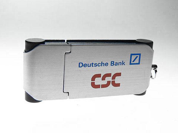 Werbeartikel Metall USB-Stick der Deutsche Bank CSC mit Logo bedruckt