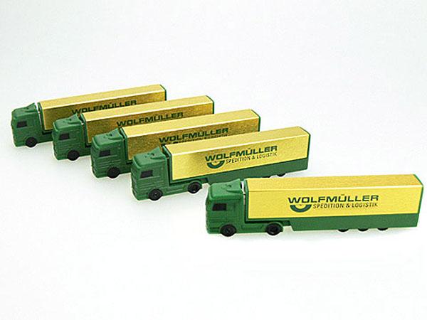 Goldener LKW USB-Stick mit einfarbigen Logo bedruckt