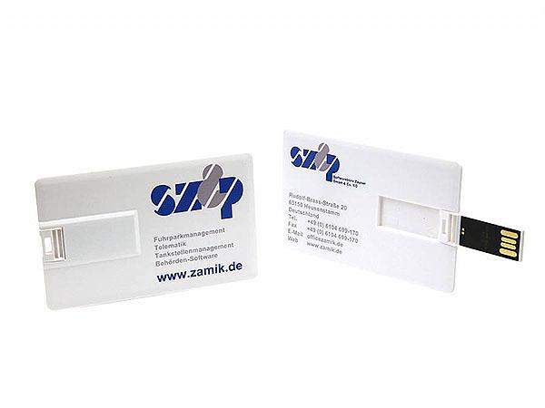 zamik Fuhrparmangagement usb-stick als visitenkarte aus Kunststoff zum einstecken in den Geldbeutel