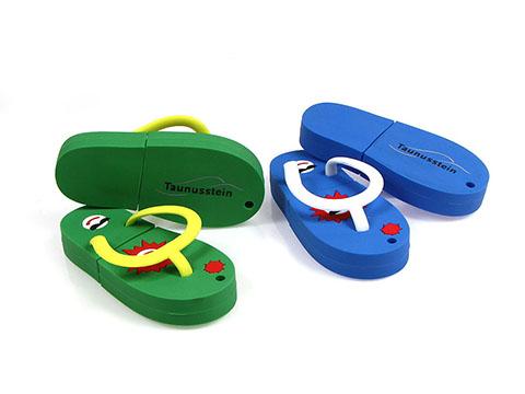 Werbeartikel Fliflop USB-Stick in blau mit Logo eingearbeitet