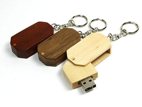 Drehbarer Holz USB-Stick Schlüsselanhänger