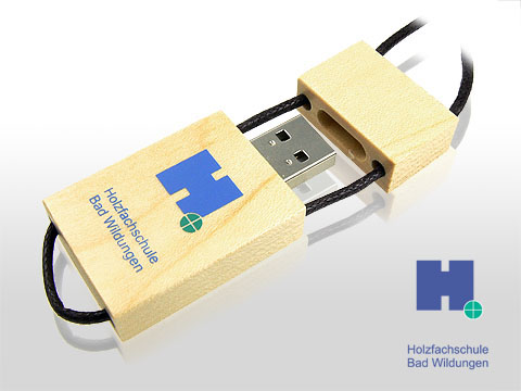 Holz USB Stick hellbraun mit Logodruck