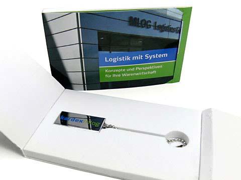 Kleiner Mini USB-Stick als Werbeartickel mit Verpackung