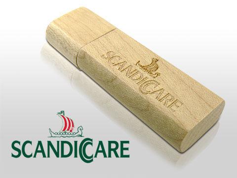 Holz USB-Stick mit  Gravur für Caritas