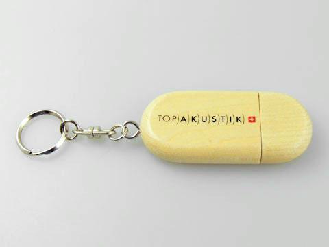 Top Akustik USB-Stick aus hochwertigen Holz mit Logo bedruckt