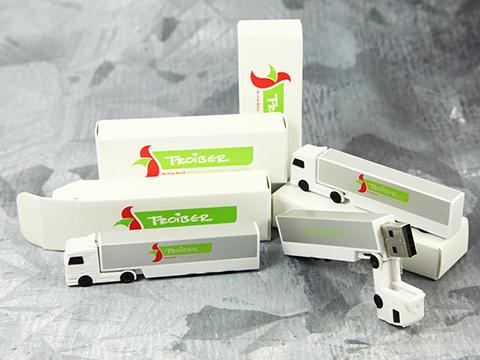 USB Stick Truck LKW mit passed bedruckter Faltschachtel