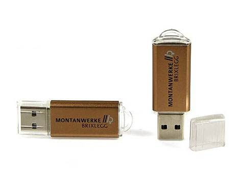 USB-Stick aus Kunststoff und Metall mit Logodruck Messingfarben