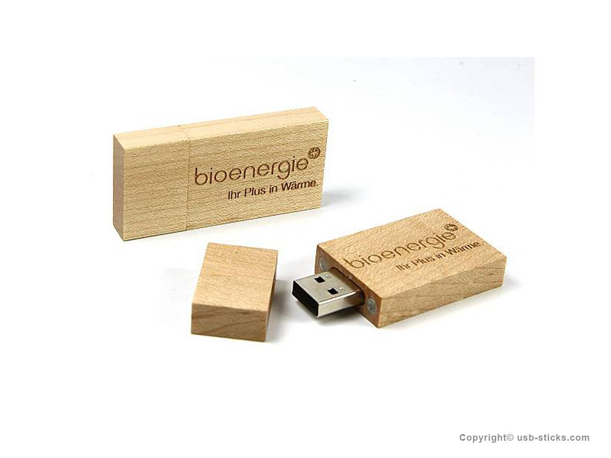 Holz USB Stick mit großem Druckbereich zum Logo Druck
