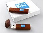 Holz-USB-Stick Holz dunkel edel bedruckt Geschenkbox