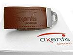 USB Stick aus Leder mit Geschenkverpackung mit Logodruck