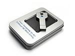 Schlüssel USB-Stick aus Metall mit gedrucktem Logo in Metallbox Geschenkverpackung