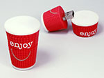 Becher Kaffebecher To Go mit Logo und Deckel als individueller USB-Stick