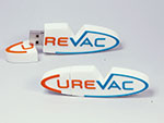 Curevac indivudller USB-Stick in flacher 2D Form des Logos