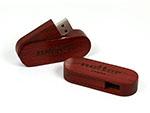 Drehbarer Holz USB-Stick in rot mit Logo