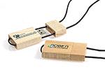 Hartmann Holz USB Stick mit Logodruck und Band aus Leder