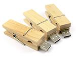Hochwertiger Holz USB-Stick als Wäscheklammer