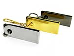 Kleiner Nano USB Stick aus Metall Gold und Anthrazit
